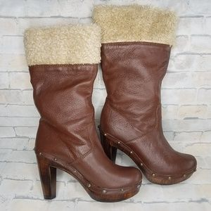 Sisley Women's Mid Calf Heeled Boots Size 7